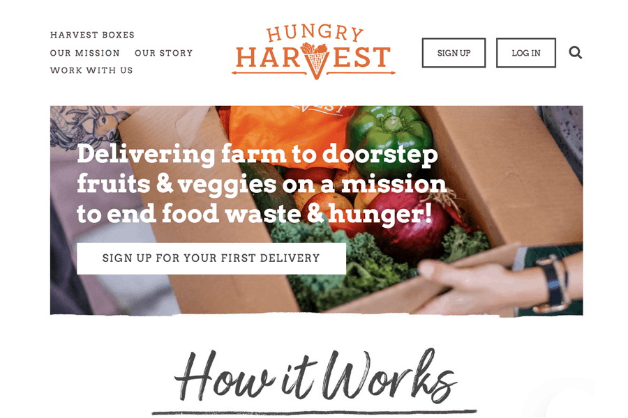 Hungry Harvest homepage