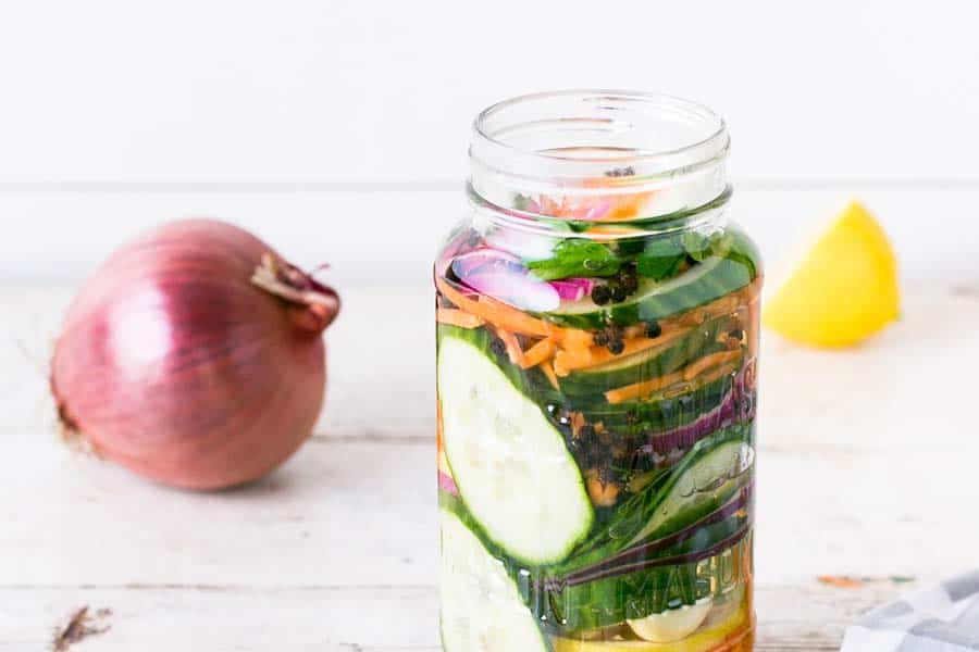 Canning Jar filled with pickled vegetables