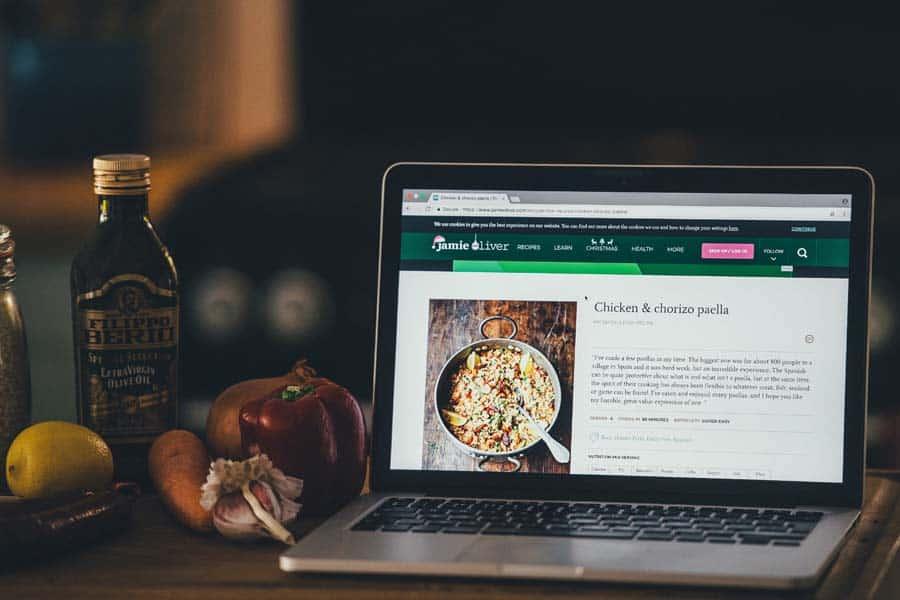 recipe on laptop