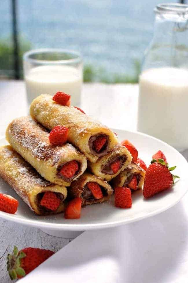 Strawberry Nutella French Toast Roll-up