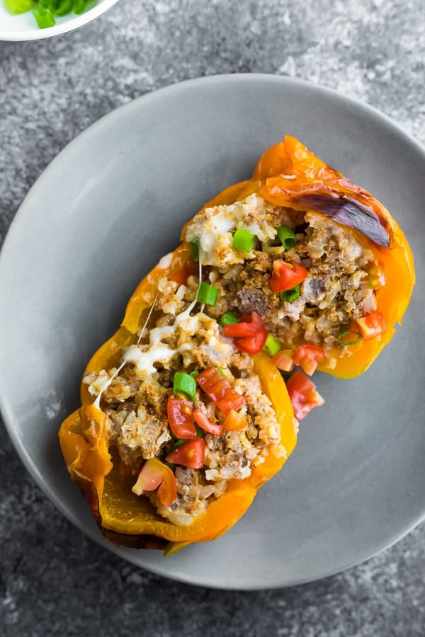 Stuffed pepper on gray plate