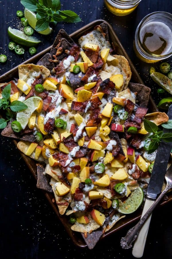 Sheet Pan Bacon Peach Nachos