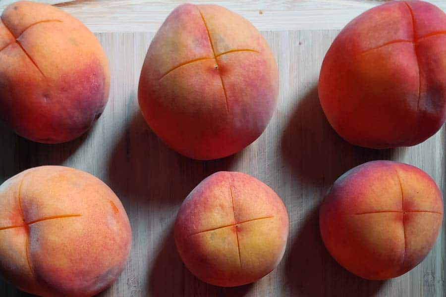 Scored Peaches