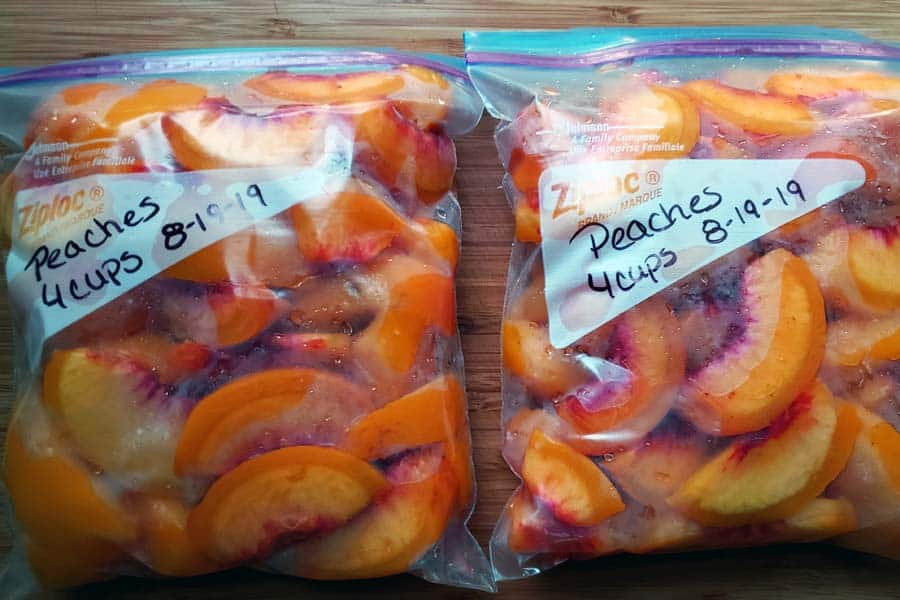 Slice Peaches in Ziplock bag