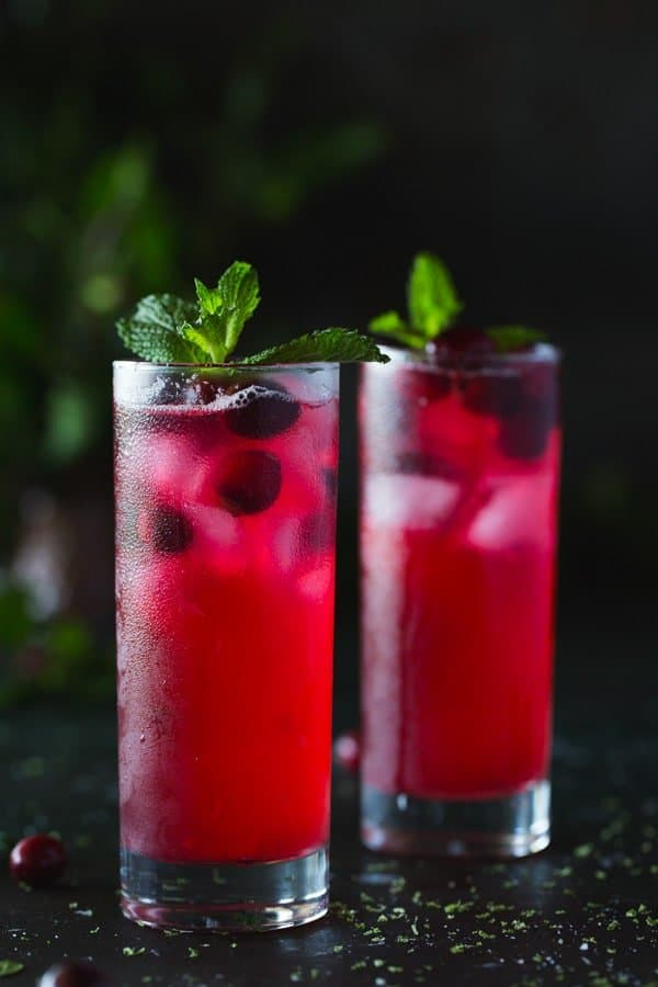 Cranberry and Mint Rum Punch