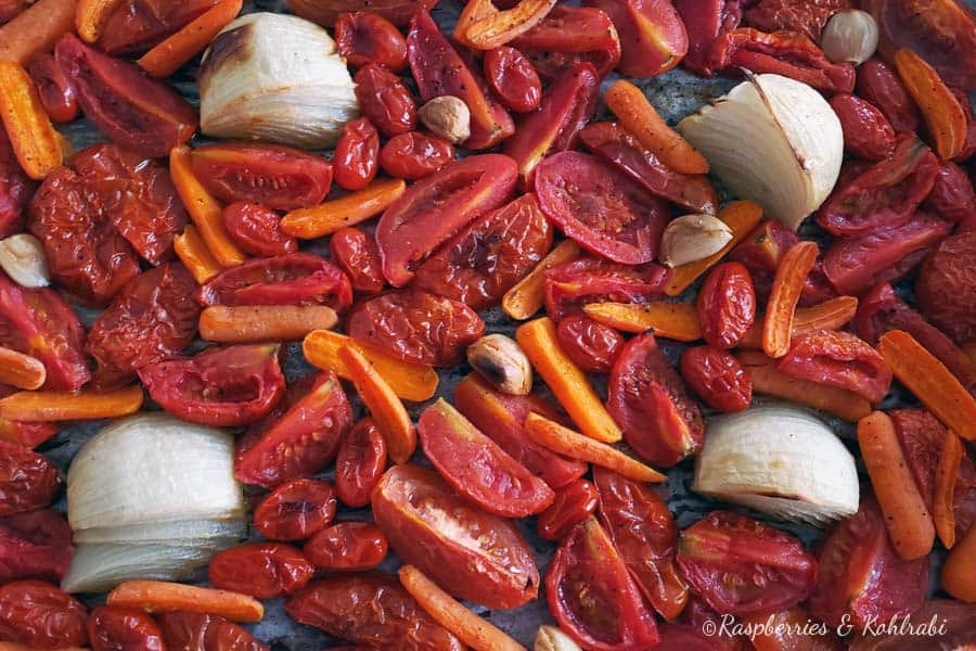 Roasted Tomatoes onions and carrots