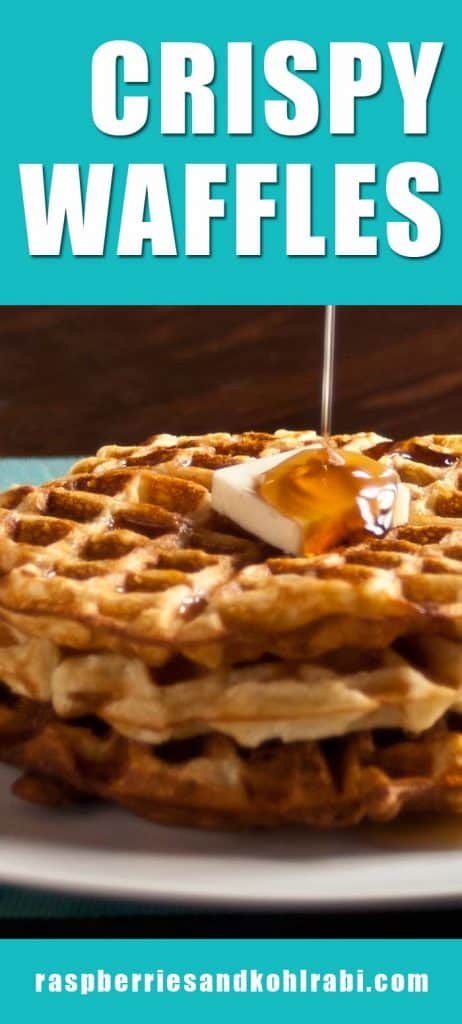 Stack of three crispy waffles on white plate