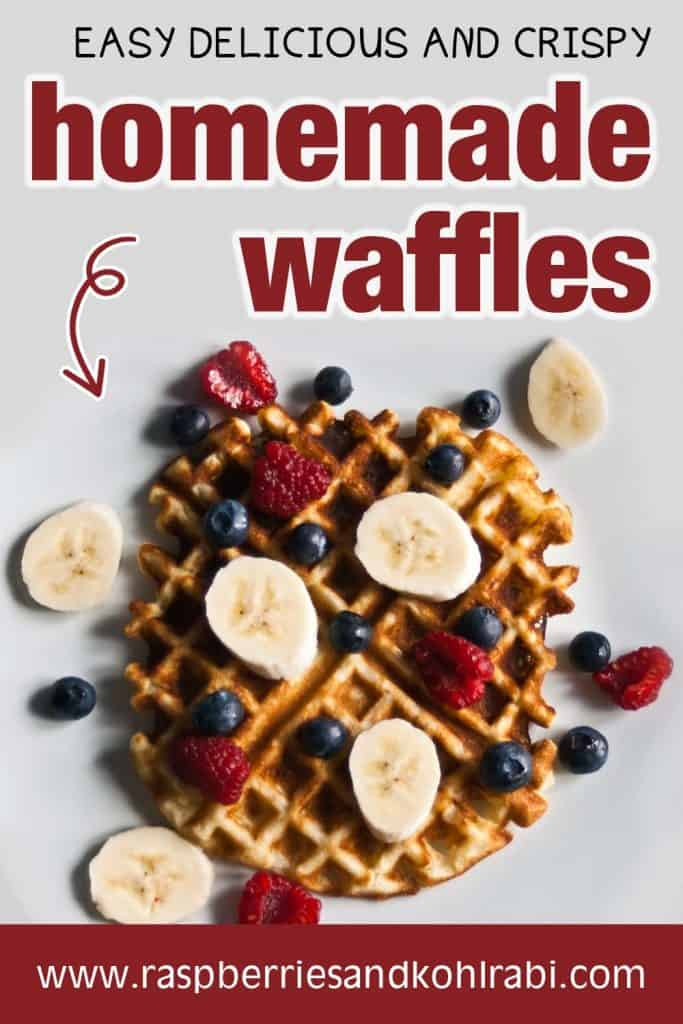 Waffle with raspberries blueberries and bananas