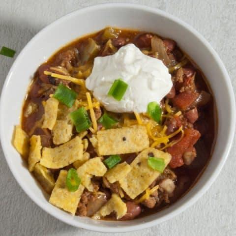 Bowl of Crock Pot Chili Chili