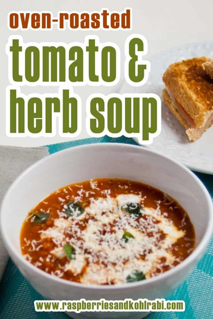 Oven roasted tomato and herb soup in a white bowl