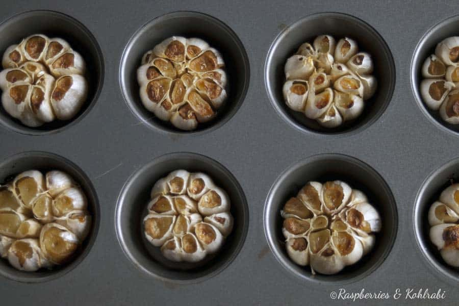 Roasted heads of garlic in a muffin pan