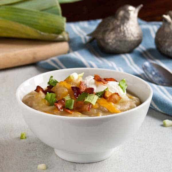 Creamy Leek, Potato, and Bacon Soup {Without Cream}