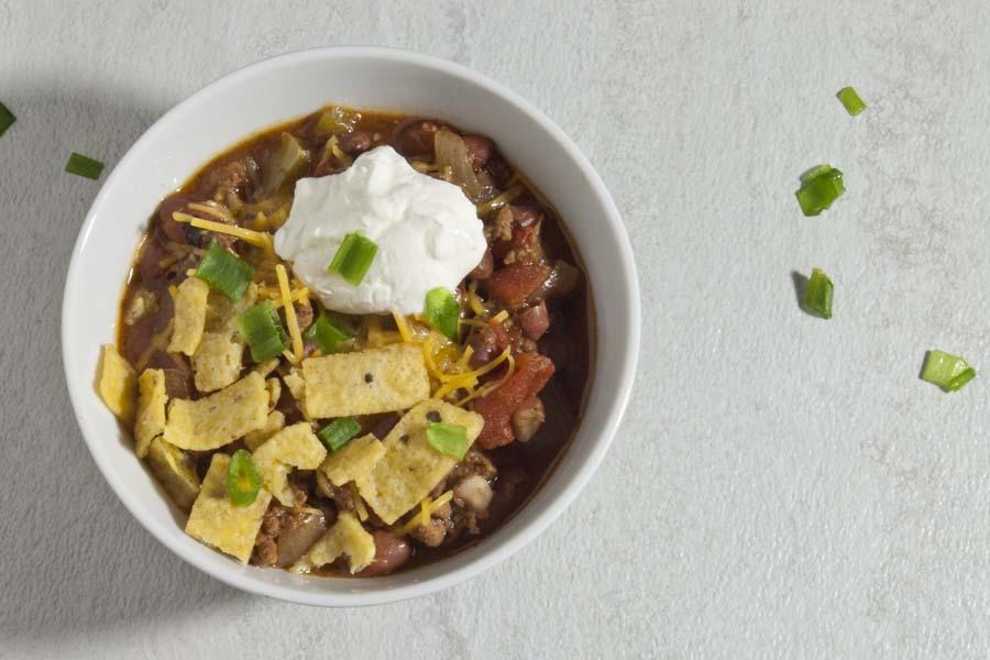 White bowl of chili