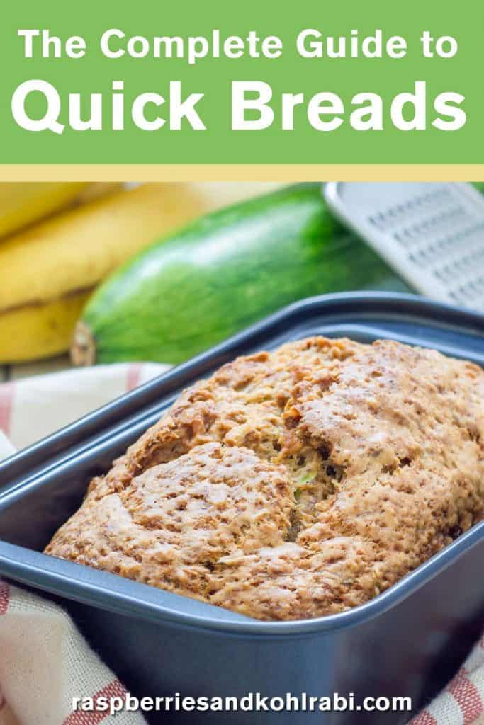 Loaf of zucchini bread in pan