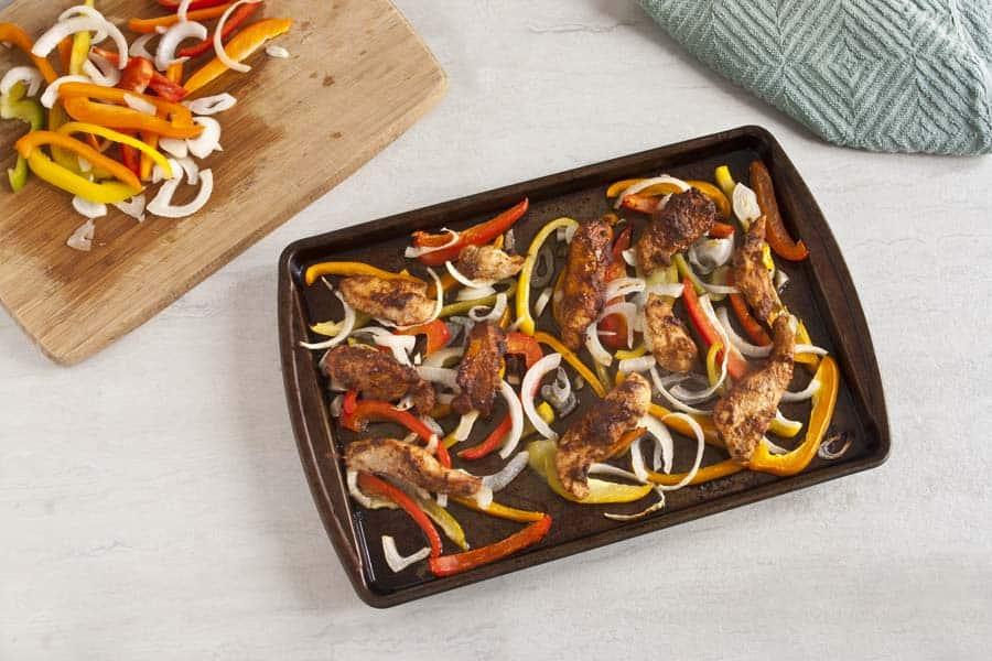 Chicken Fajitas on sheet pan