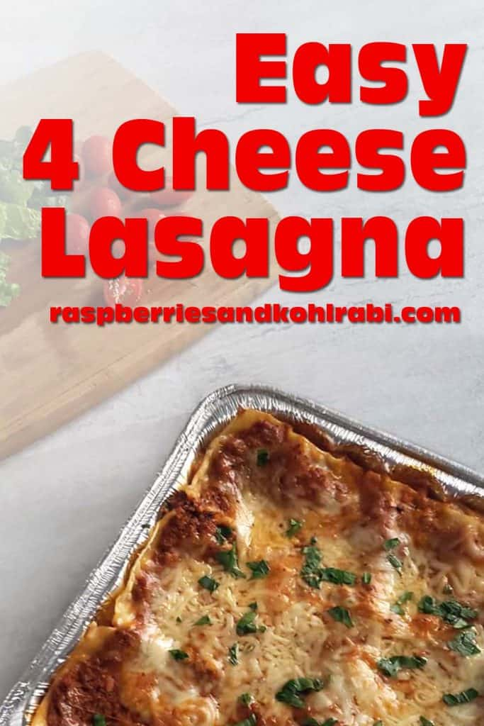 Four cheese lasagna in foil pan