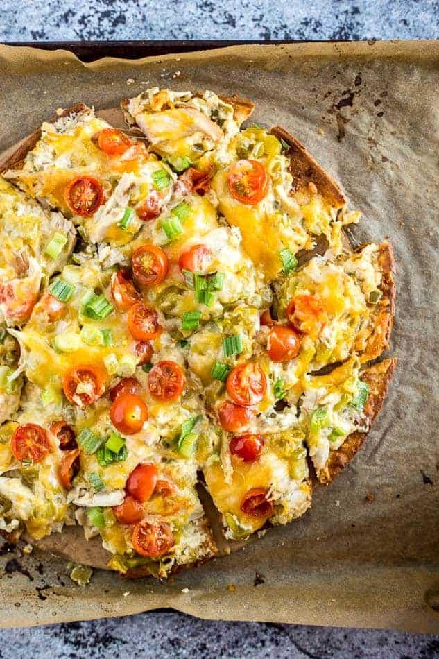Cheesy Chile and Chicken Flatbread Pizza