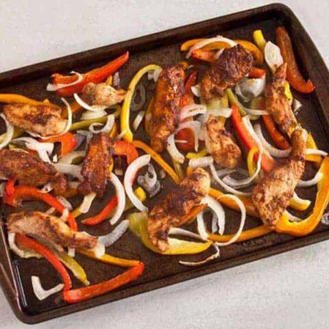 Close up of chicken fajitas