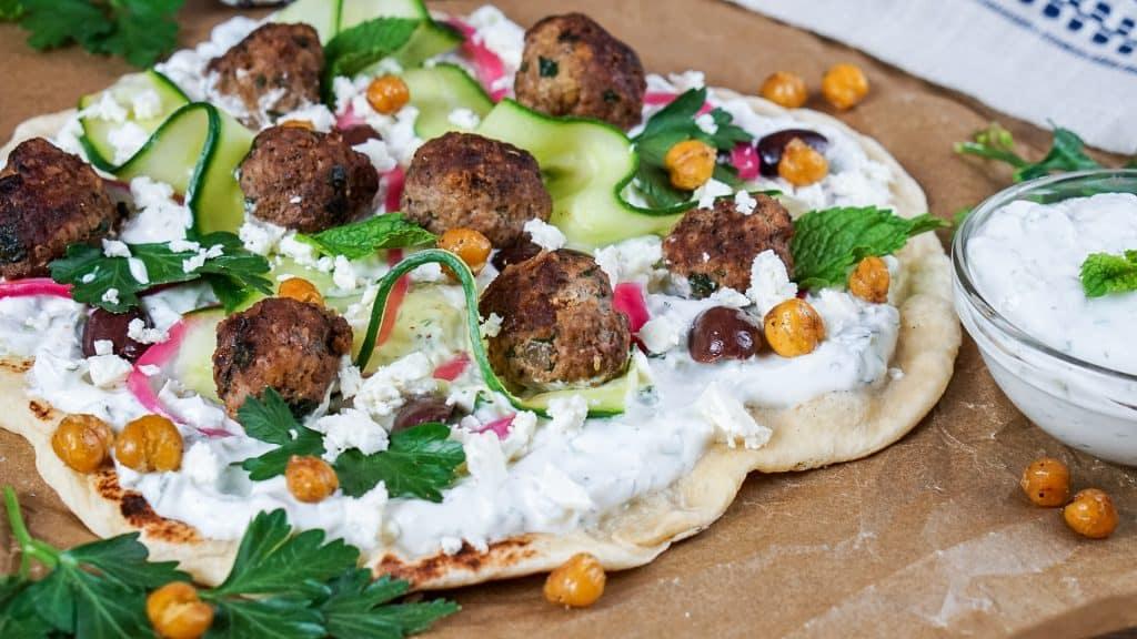 Greek Flatbread Pizza with Lamb Meatballs