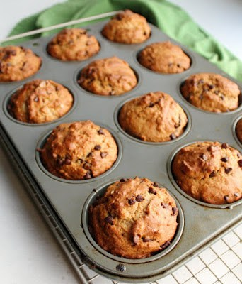 pan of chocolate chip oat sourdough muffins