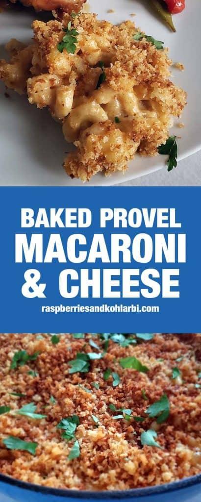 baked provel macaroni and cheese pinterest image