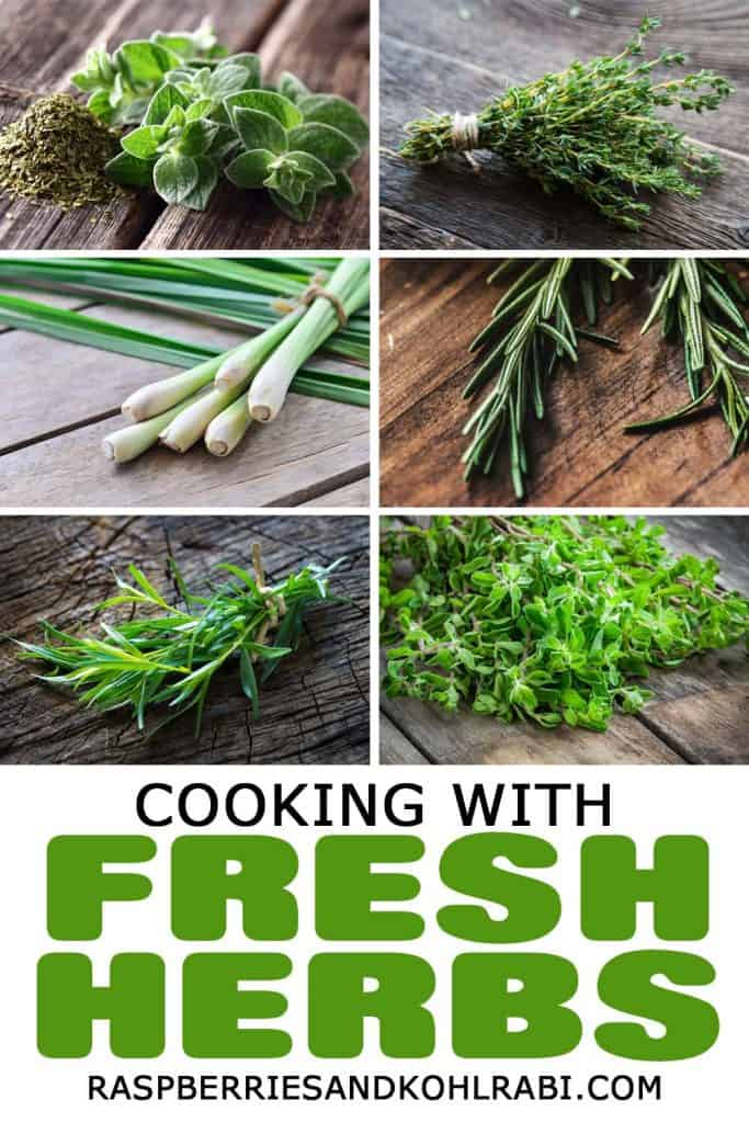 Cooking with fresh herbs pinterest image