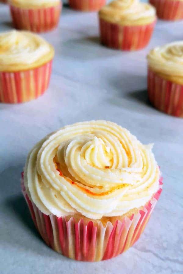 peach sourdough cupcake
