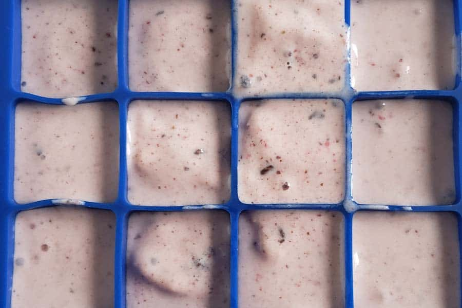 Strawberry Banana Chocolate Smoothie in a blue ice cube tray
