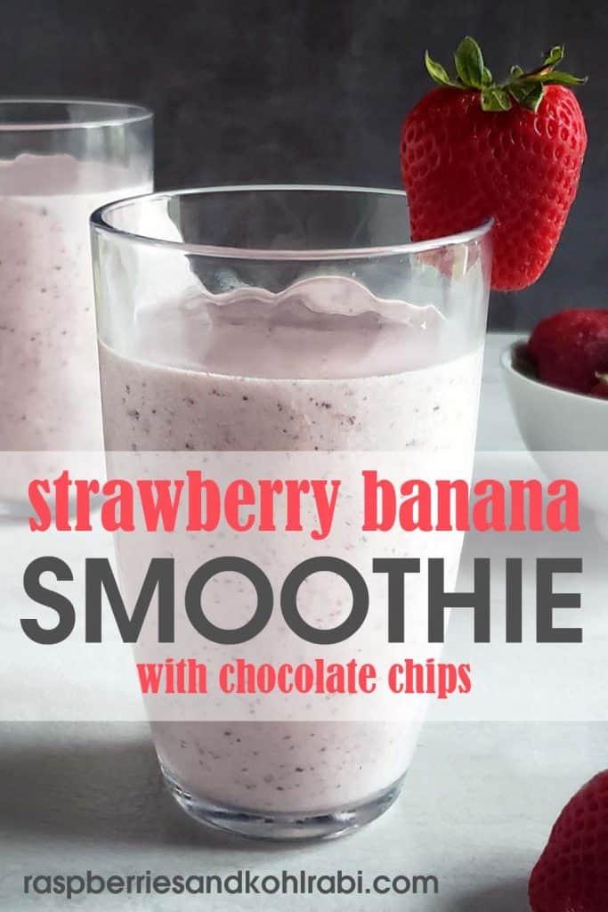 Strawberry Banana Chocolate Smoothie Pinterest Image