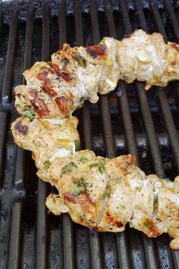 Greek marinated chicken on grill