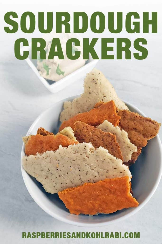 Sourdough Crackers in a small white bowl