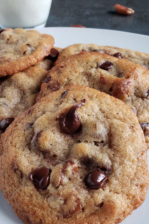 Bacon Bourbon Pecan Chocolate Chip Cookies on a white plate