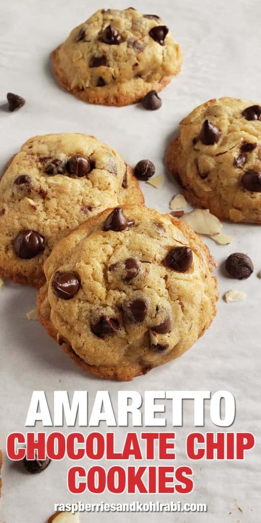 amaretto chocolate chip cookies on parchment paper