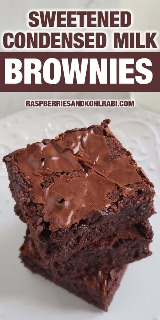 stack of three brownies on white plate