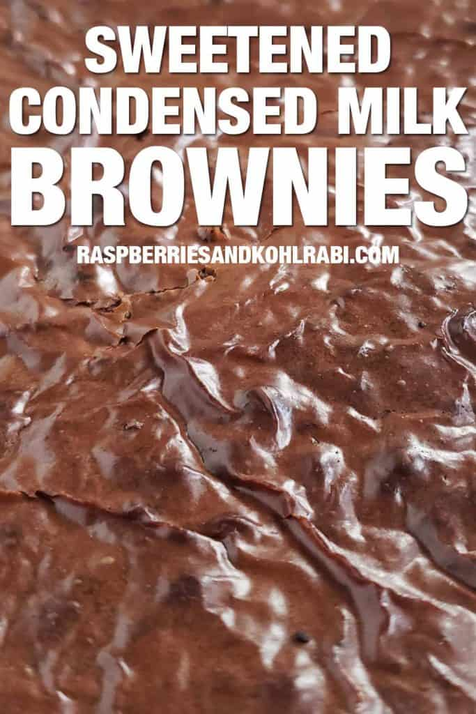 close up of the top of a pan of condensed milk brownies