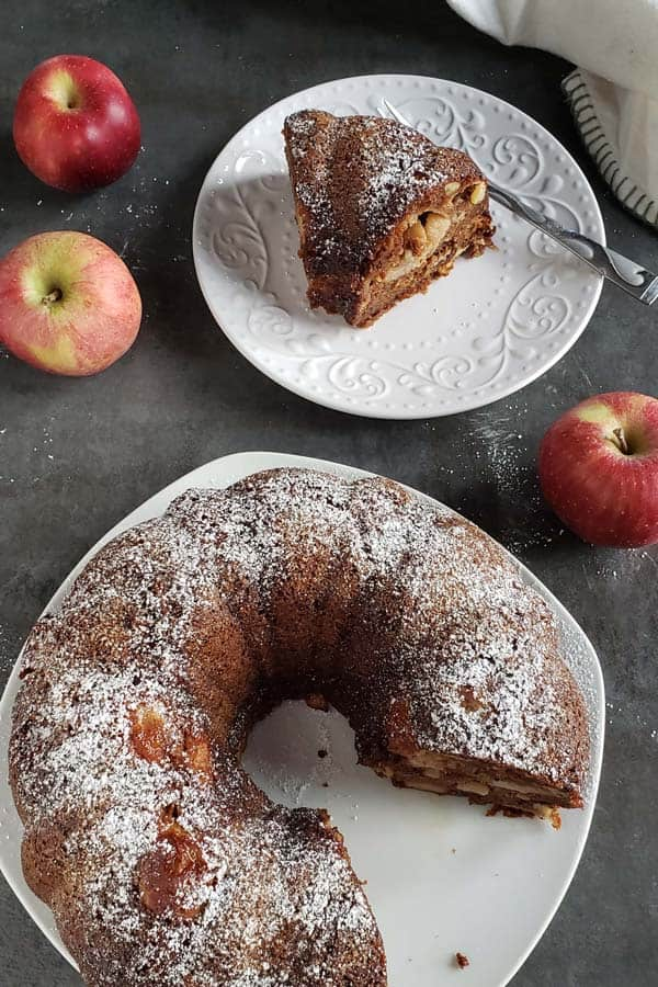 fresh apple cake on a white plate