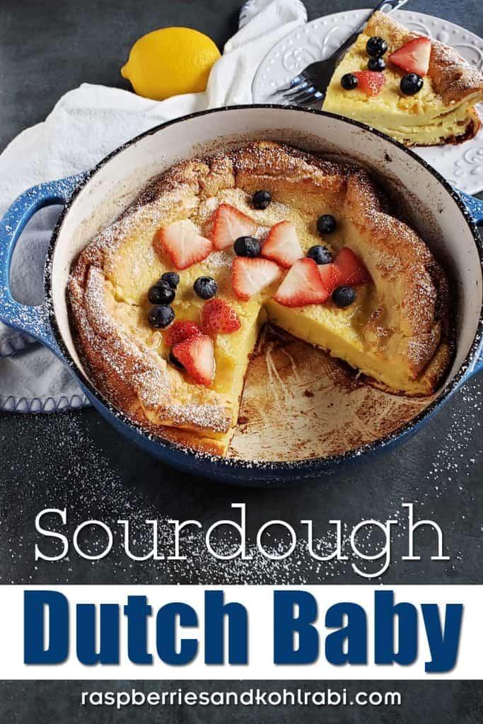 sourdough dutch baby in blue dutch oven