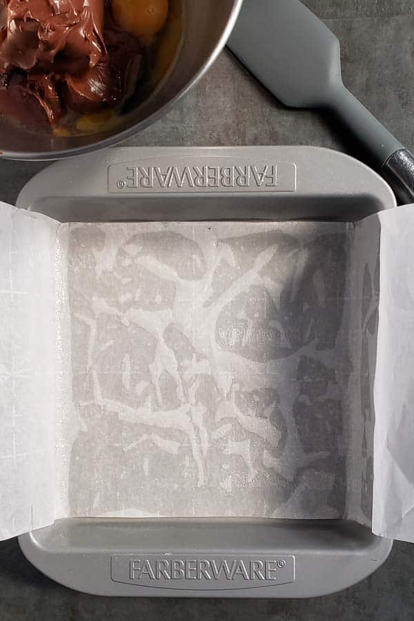 metal pan lined with parchment paper