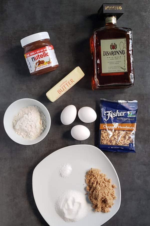 nutella brownie ingredients on a dark background