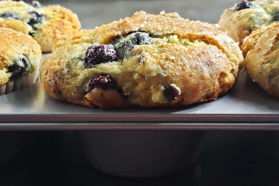 close up of baked blueberry muffin in muffin pan