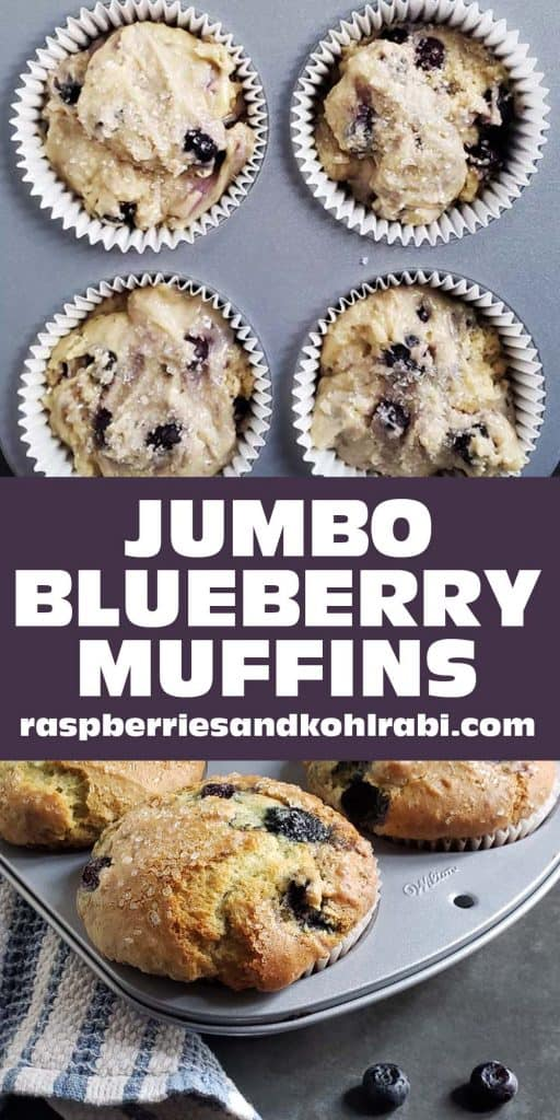 two photos collaged together. Top photo is raw muffin batter in muffin tin. bottom photo is cooked blueberry muffins in muffin tin